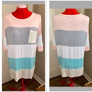 PINKBLUSH MATERNITY TUNIC TOP JERSEY COLOR BLOCK M